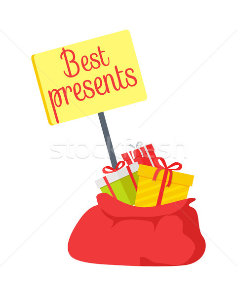 Best Presents in Red Sack on White Background Stock photo © robuart