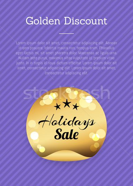 Foto stock: Dourado · desconto · férias · venda · etiqueta · estrelas