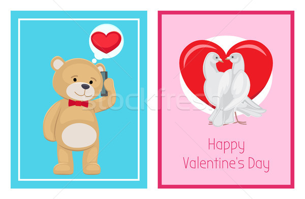 Cute Soft Toy Bears and White Doves in Love Set Stock photo © robuart