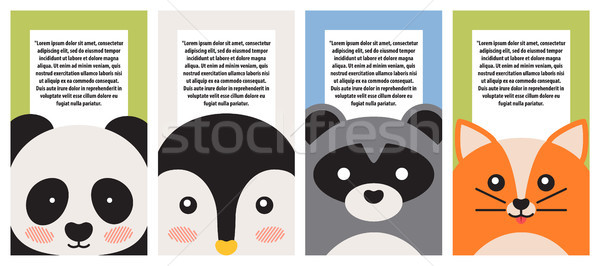 Animal Collection, Closeup Faces, Vector Banner Stock photo © robuart