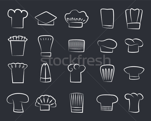 Outline Sketches Chef Hats, Set of White Chef Hat Stock photo © robuart