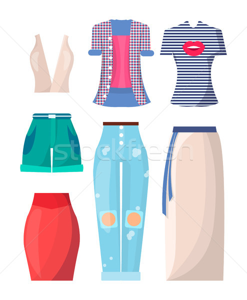 Clothing Summer Mode Posters Vector Illustration Stock photo © robuart