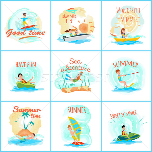 Summer Fun and Good Fun Set Vector Illustration Stock photo © robuart