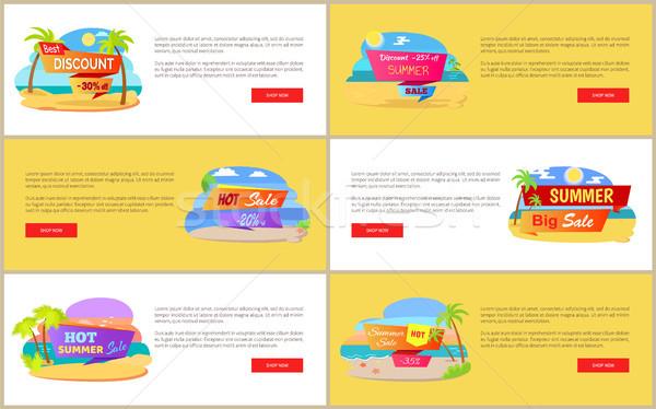 Stock photo: Hot Summer Sale at Internet Shop Web Pages Set