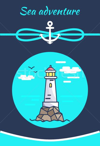 Mar aventura color banner blanco faro Foto stock © robuart