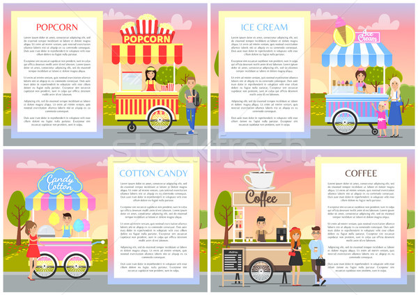Ice Cream and Cotton Candy Set Vector Illustration Stock photo © robuart