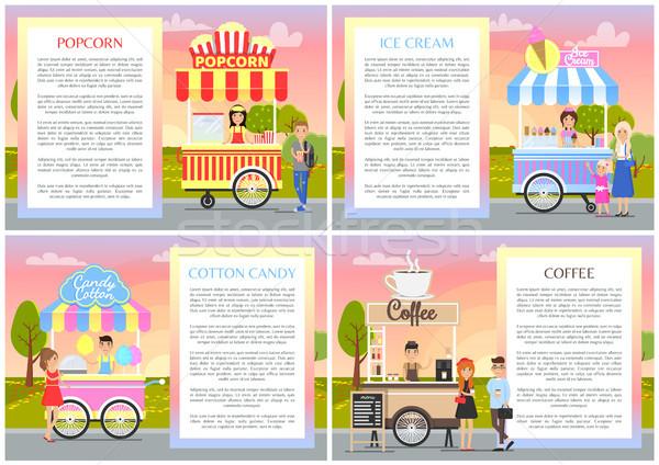 アイスクリーム 綿 キャンディ セット コレクション ポスター ストックフォト © robuart