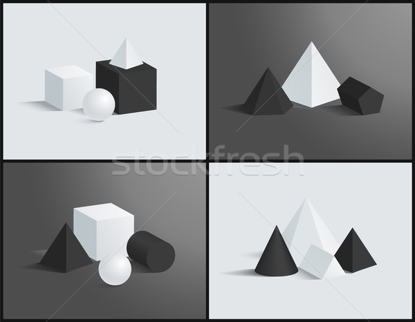 Vector Banner with Isometric Figures Patterns Stock photo © robuart