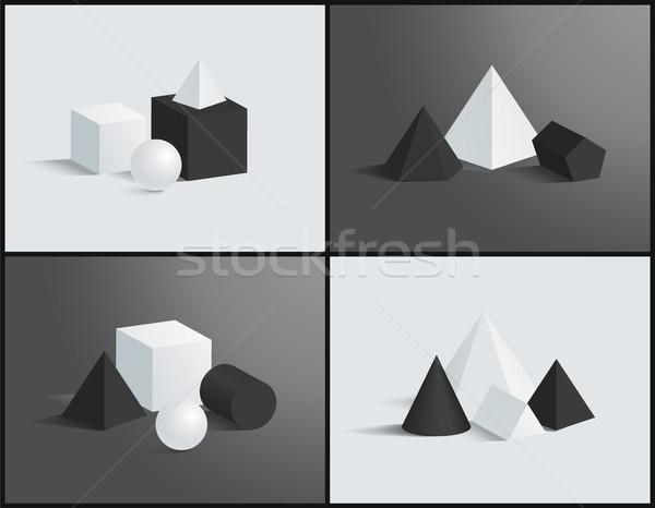 Vektör afiş izometrik desen örnek küp Stok fotoğraf © robuart