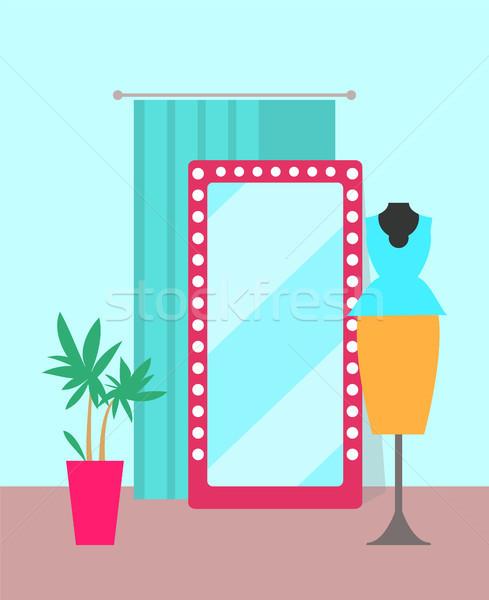 Cozy Shop with Big Mirror Vector Illustration Stock photo © robuart