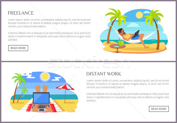 Freelance and Distant Work Promo Internet Pages Stock photo © robuart