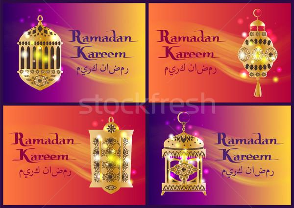 Szett ramadán lámpások arab kalligráfia iszlám üdvözlet Stock fotó © robuart