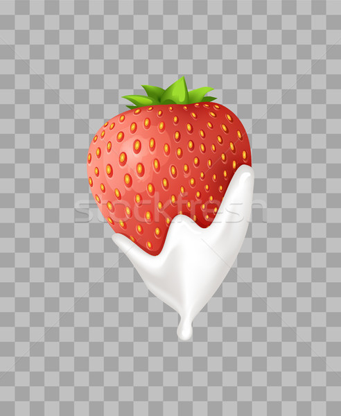 Ripe Sweet Strawberry in Tender Whipped Cream Stock photo © robuart