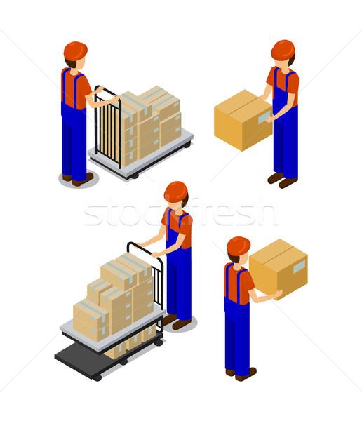 Fabriek werknemers dozen vervoer productie Stockfoto © robuart