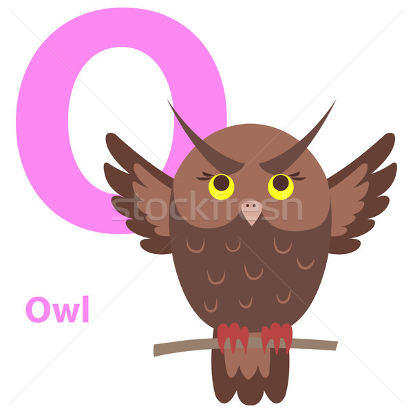 Brown Cartoon Owl on Character O Educational Card Stock photo © robuart
