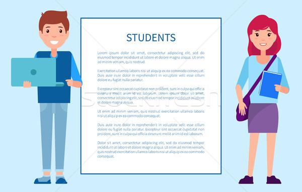 Studenti poster frame ragazzo maglione pantaloni Foto d'archivio © robuart