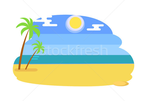 Tengeri kilátás trópusi tengerpart forró nyár citromsárga homok Stock fotó © robuart