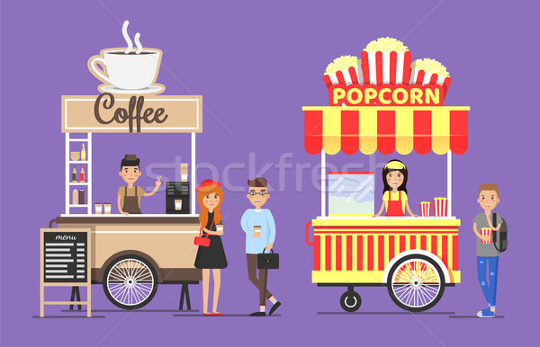 Hot Coffee and Popcorn Street Carts with Vendors Stock photo © robuart