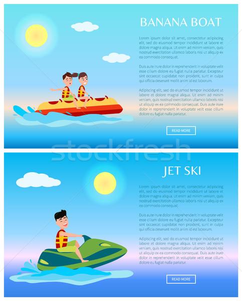 Banana Boat and Jet Ski Colorful Illustrations Stock photo © robuart