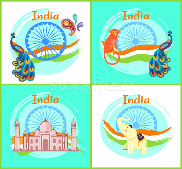 India Cultural Symbols Set Vector Illustration Stock photo © robuart