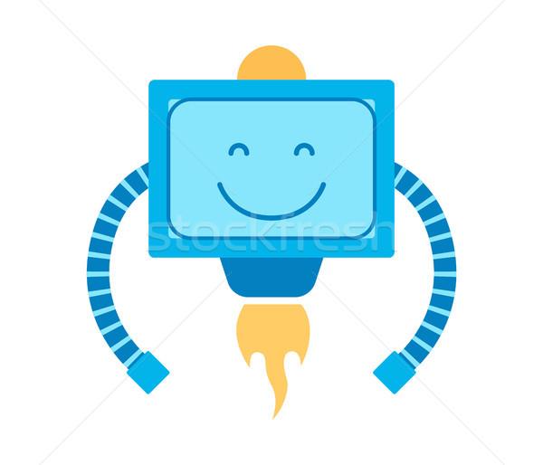 Mechanizm uśmiech głowie robot niebieski Zdjęcia stock © robuart
