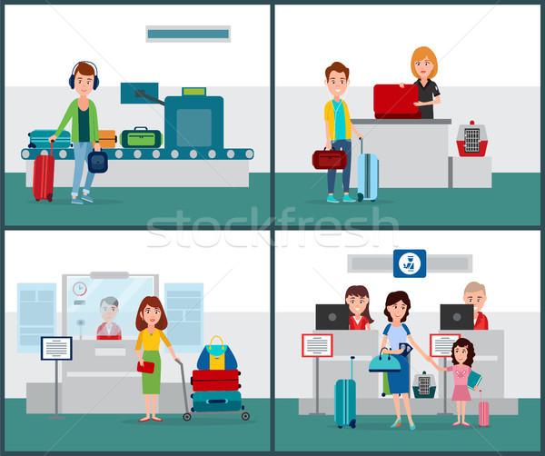 Nemzetközi repülőjáratok szett gyűjtemény emberek útlevél Stock fotó © robuart