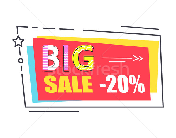 Big Sale Promo Label Rectangle Decorated by Star Stock photo © robuart