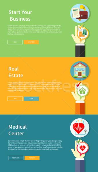 Ház üzlet orvosi egészségbiztosítás stílus bannerek Stock fotó © robuart