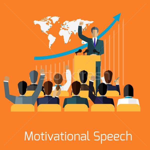 Motivacional discurso diseno negocios seminario orador Foto stock © robuart