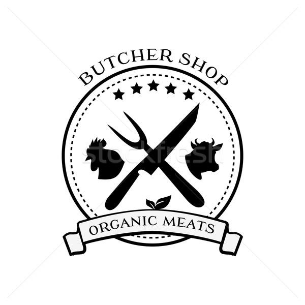 Slager winkel ontwerp communie badges Stockfoto © robuart