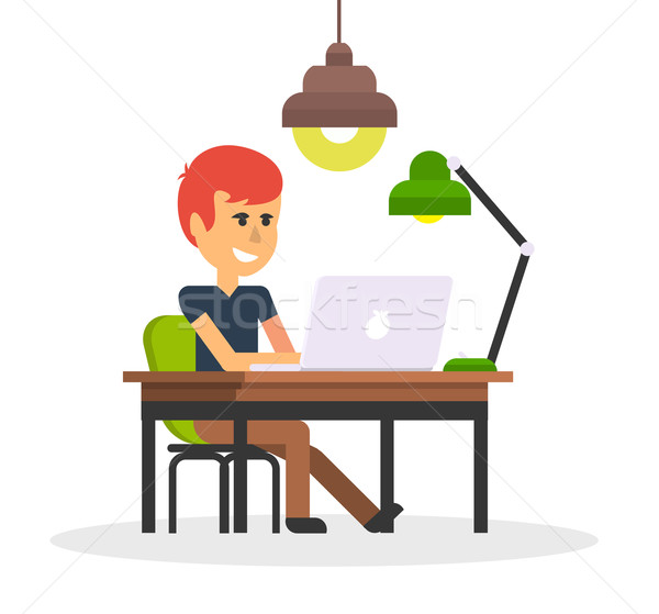 Man Work with Computer Design Flat Stock photo © robuart