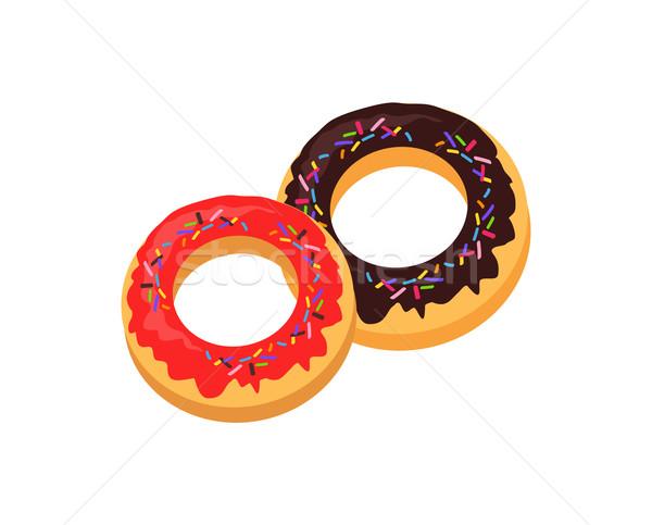 Sweet Donuts logo Design Flat Food Stock photo © robuart