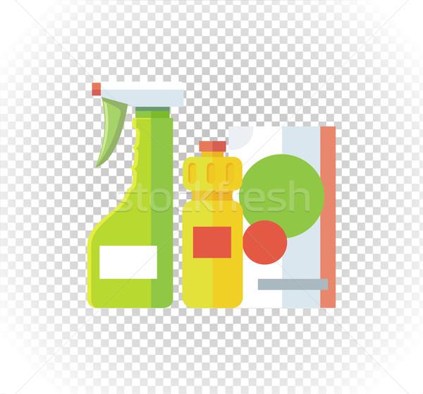 Háztartás vegyi készülékek spray üveg takarítás Stock fotó © robuart