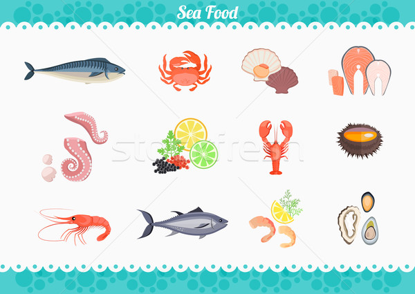 Frutos do mar conjunto projeto peixe caranguejo lagosta Foto stock © robuart