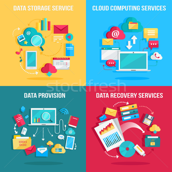 Set of concept flat designs for data services Stock photo © robuart