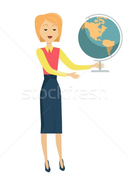 School Teacher with Earth Globe Stock photo © robuart