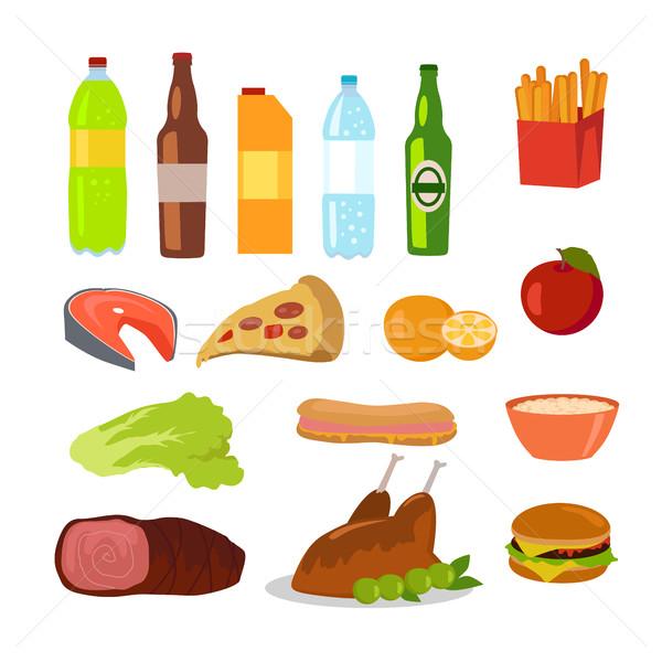 Saudável alimentos não saudáveis comida ícones Foto stock © robuart