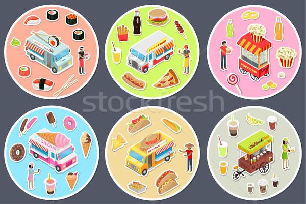 Isometric Street Food Trucks Set. Stock photo © robuart