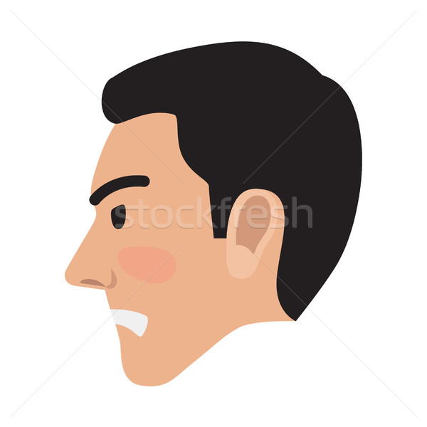 Angry Man Avatar User Pic Side Head View Vector Stock photo © robuart
