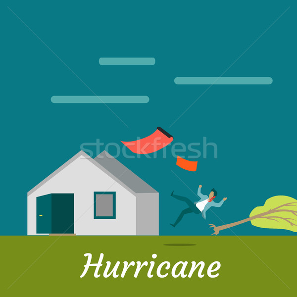 Hurricane Destroying House and Killing Man Stock photo © robuart