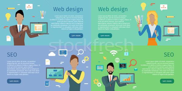 Web design seo conjunto homem mulher Foto stock © robuart