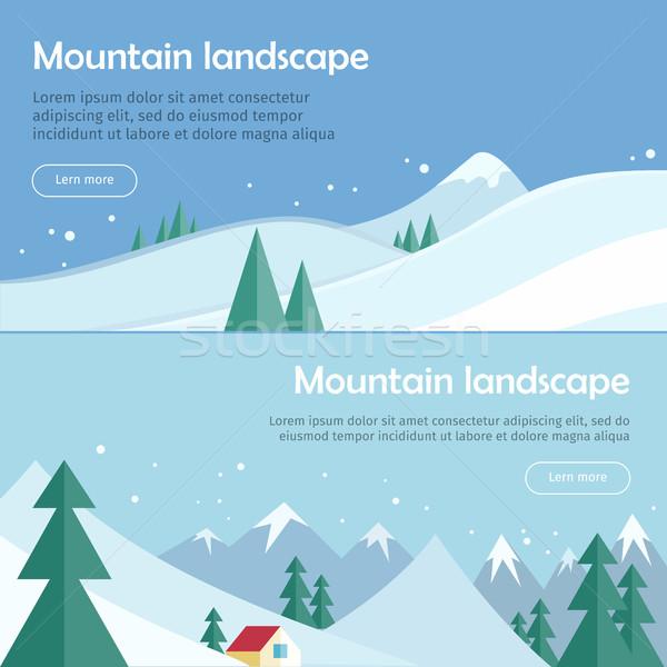 Сток-фото: горные · пейзаж · вектора · дизайна · веб · Баннеры