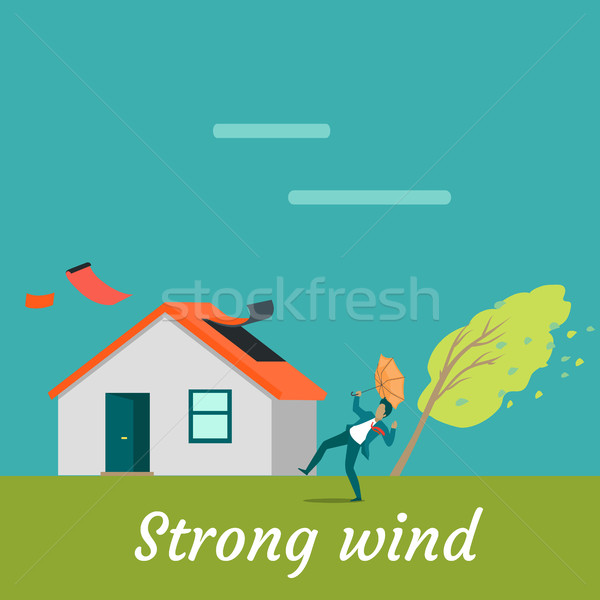 Strong Wind Destroying House and Killing Man Stock photo © robuart
