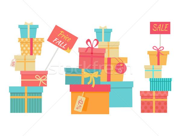 Foto stock: Grande · caixas · de · presente · vetor · venda · preço