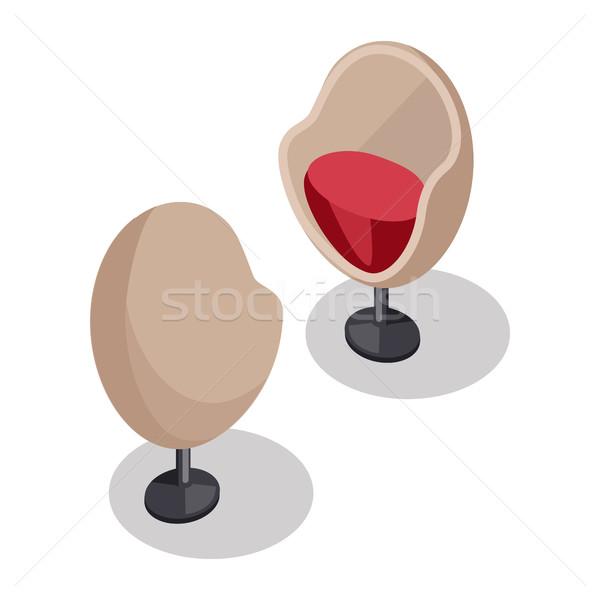 Yumurta sandalye örnek izometrik projeksiyon iki Stok fotoğraf © robuart