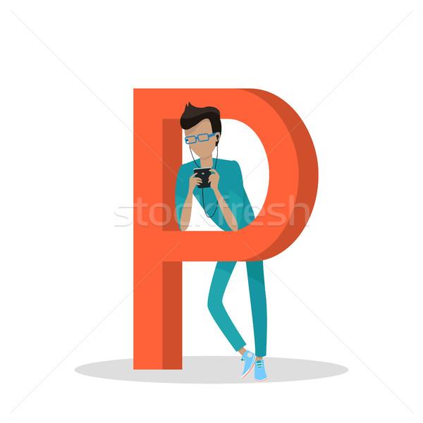 Szerkentyű ábécé levél férfi okostelefon áll Stock fotó © robuart