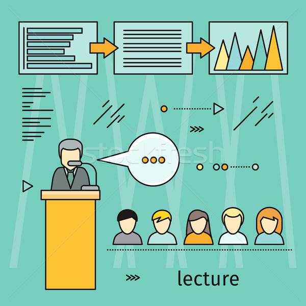 Negócio palestra bandeira educação oficina treinamento Foto stock © robuart