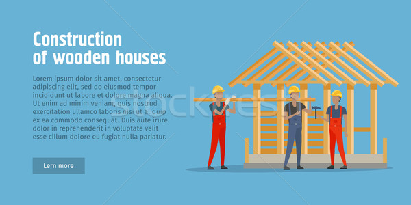 Construction of Wooden House Web Banner. Vector Stock photo © robuart