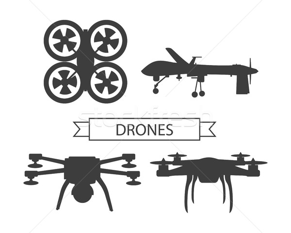 Set Drone Icons Isolated Unmanned Aerial Vehicle Stock photo © robuart