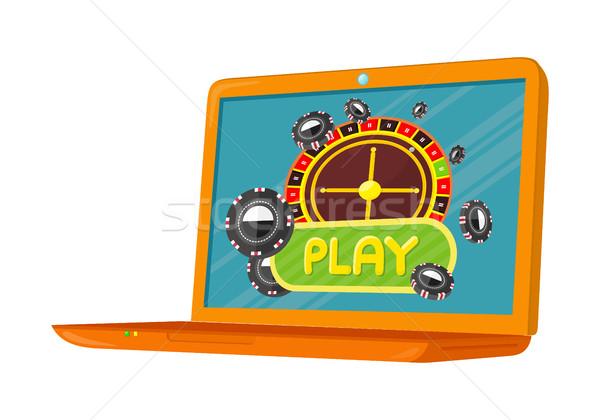 Online Spiele Banner Laptop Casino Roulette-Rad Stock foto © robuart